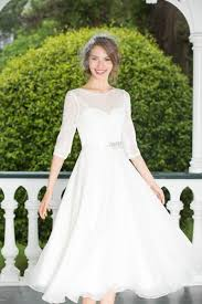 half lace wedding dress stylish a line half sleeves tea length chiffon lace wedding