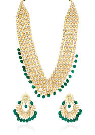 green fashion necklace images Buy kundan ranihaar with earrings with green semi precious drops jpg