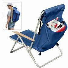 backpacked folding chair with back bag and padded shoulder