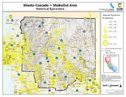Portland Earthquake Map the great california shakeout shasta cascade area