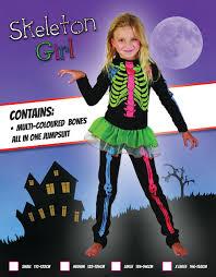 costume multicoloured bones girls jumpsuit halloween fancy dress