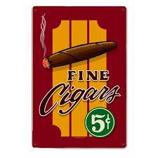 Vintage Reproduction Home Decor Fine Cigars Vintage Steel Sign Smoking Signs Retroplanet Com