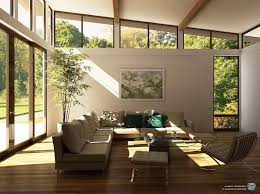 contemporary family room design red sofa cabinet between windows
