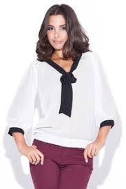 White Blouse With Black Bow Elastic Waist Bow Neckline Black Blouse