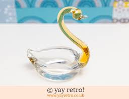 60s sleek glass swan ornament vintage shop retro china