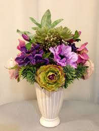 Purple And Green Home Decor by Rose Anemone Ranunculus And Succulent Plant Arrangement In