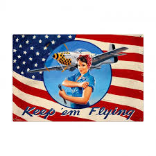 pin up girl home decor rosie the riveter keep em flying patriotic pin up girl art on