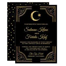 muslim wedding invitation cards gold crescent and islamic wedding invitation wedding