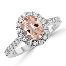 pink morganite oval pink morganite diamond halo engagement ring