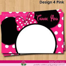 minnie mouse thank you cards minnie mouse printable thank you card 4x6 arabella s 2nd