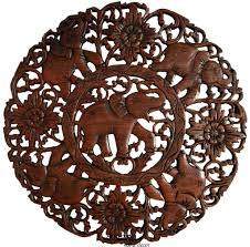 round carved wood elephant wall decor asian home decor thai wall