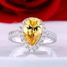 beautiful diamonds rings images 2ct yellow stone pear shape fine diamond wedding rings for women jpg