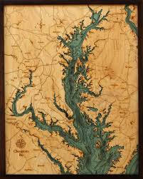 Framed Map Of The World by Custom Wood Charts Of Chesapeake Bay From Carved Lake Art