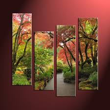 Forest Home Decor by 4 Piece Nature Green Trees Multi Panel Canvas