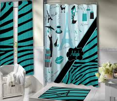 Aqua Blue Shower Curtains Stylish Shower Curtain Aqua Blue Bathroom Theme Eiffel