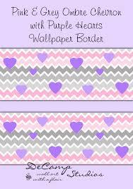 pink grey gray ombre chevron wallpaper border purple hearts 564