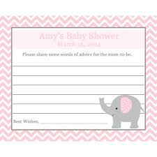 advice to the cards 24 baby shower advice cards elephant pink