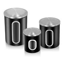 kitchen canisters black hobbs set of 3 storage canisters black ebay
