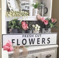 large fresh cut flowers sign flower market spring home decor zoom