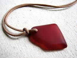 leather necklace pendant images Red sea glass pendant on leather necklace unisex bits off the beach jpg