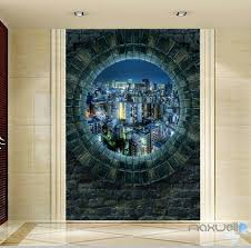 Wall Murals 3d 3d Stone Window City Night Corridor Entrance Wall Mural Decals Art