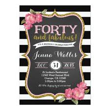 40th forty fabulous birthday invitation zazzle