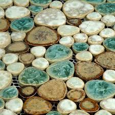 Porcelain Tile Pebbles Random Bricks Glazed Ceramic Mosaic Backsplash - Pebble backsplash