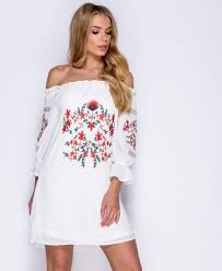 white off the shoulder floral embroidered mini dress