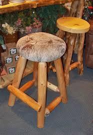 rustic log bar stool pub stool cabin furniture upholstered