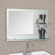 bathroom exciting frameless bathroom mirrors with shelves clear