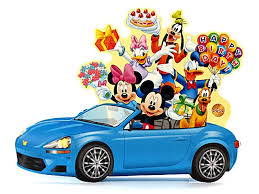 disney pop up blue car with lights blinks to happy
