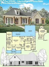 acadian floor plans plan 51742hz 3 bed acadian home plan with bonus garage