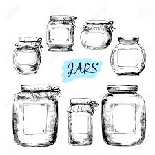Kitchen Canister Labels Jars With Labels Set Of Hand Drawn Illustrations Royalty Free