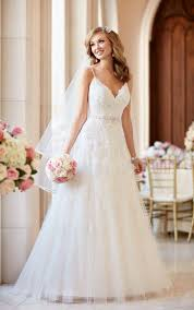 wedding dress a line a line wedding dress with v neckline stella york