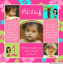 luau 1st birthday invitation tropical hula girls summer
