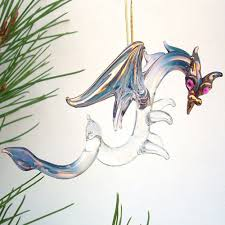 amazon com dragon christmas ornament figurine hand blown glass
