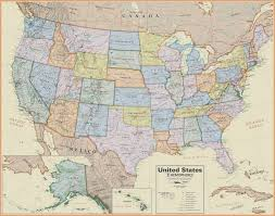 Map Of The United States In Color by United States Wall Map Laminated Boardroom Style 19 99