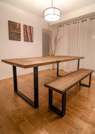 U Shaped Table Legs Reclaimed Wood U0026 Steel U Shape Table And Bench Bench Steel And Legs