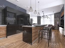 modern black kitchen cabinets modern kitchen with wood and gloss black kitchen cabinets kitchen island with bar stools countertops builtin appliances stock photo