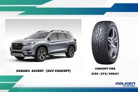 subaru lebanon falken concept tyre outfitted on subaru ascent suv concept on