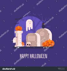happy halloween card haunted graveyard spooks stock vector