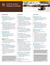 2014 ups year end schedule