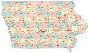 Us Map States And Cities by Large Administrative Map Of Iowa State With Roads And Major Cities