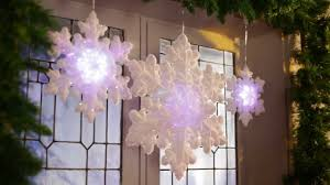 Lighted Snowflakes Outdoor by Led Lighted Flocked Snowflakes Improvements Catalog Youtube