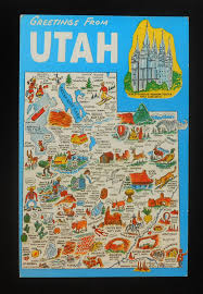 Uta Map 1960s Postcard State Map Of Utah Landmarks Icons Mormon Temple Ut