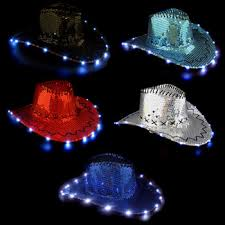 light up sequin cowboy hat 3 function each s toys