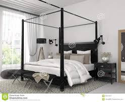 chambre a coucher blanche chambre à coucher blanche avec le lit noir image stock image du
