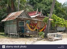thailand koh phangan leela beach bamboo hut with hammock stock
