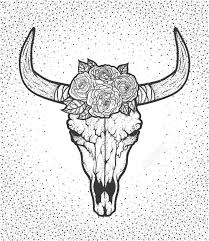 bull skull with roses native americans tribal style dotted tattoo