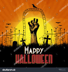 halloween zombie background vector rising zombie hand cemetery halloween stock vector